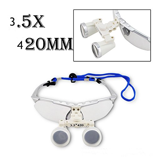 New Design Silver 3.5X Dental Surgical Binocular Loupes Dentist Magnifier 420mm with LED