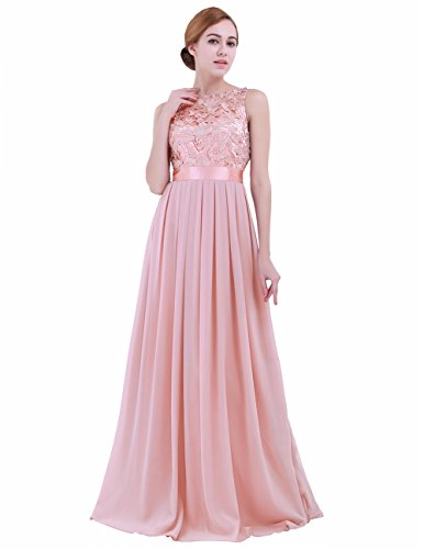 Women Lace Waisted Full Bridesmaid Party Dress Pink - 2