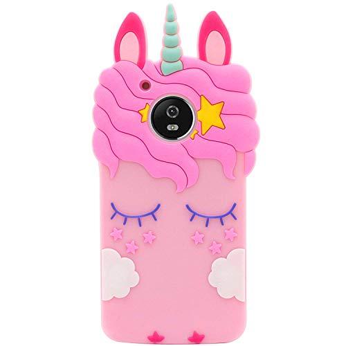 Mulafnxal Pink Unicorn Case for Motorola Moto E4 Plus +,3D Soft Silicone Cases,Cute Cartoon Animal Fun Cover,Kawaii Character Girls Kids Teens Cool Unique Protector,Rubber Shell for Moto E4 Plus