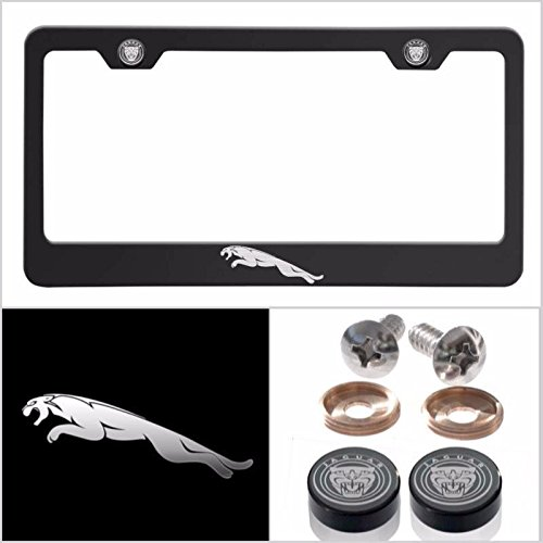 Fit Jaguar Laser Engraved Logo License Plate Frame Made of Industrial Grade Powder Coated Black Matte Black Stainless Steel w/ Caps and Accessories by UFRAME