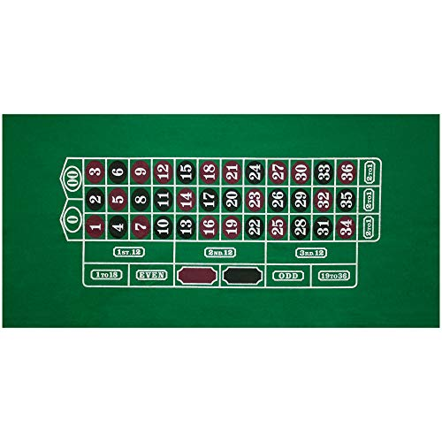 GSE Games & Sports Expert Casino Table Top Layout Mat(Blackjack/Craps/Roulette/Texas Holdem/Baccarat Available) (Roulette)