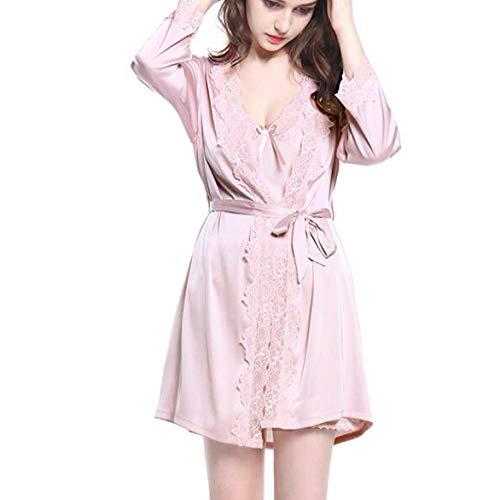 Camicia Corte V Pizzo Yongbe Vestito Di Scollo Sling Sexy Pigiama A Pezzi Ladies Maniche Lotuscolor Ghiaccio Summer Seta Due Dress pwp1SnTOPx