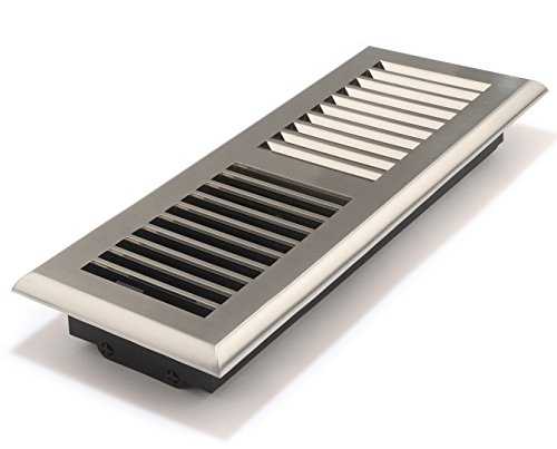 (Accord APFRSNL412 Plastic Floor Register with Louvered Design, 4-Inch x 12-Inch(Duct Opening Measurements), Satin Nickel Finish)
