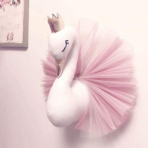 - mimidu Animal Head Swan Flamingo Wall Hanging Mount Stuffed Plush Toy Princess Doll Girl Baby Kid Gift Nursery Room Wall Decor (Pink)