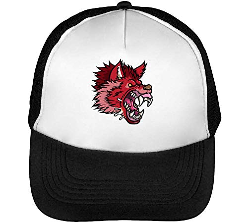 Red Angry Scary Mad Head Gorras Hombre Snapback Beisbol Negro Blanco