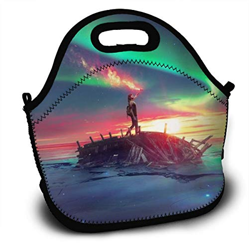 Dejup Lunch Bag Iridescent Aurora Tote Reusable Insulated Lunchbox, Shoulder Strap with Zipper for Kids, Boys, Girls, Women and Men -