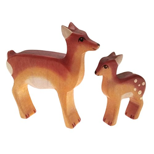 HandWoody Wooden Animal Deer & ROE Deer Handmade Handpainted Wood Figure - Home Decor - Collectible Figurine - Natural Toy - Souvenir