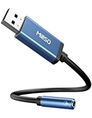 MillSO USB to 3.5mm Audio Jack Adapter, Sapphire Blue TRRS USB to AUX Audio Jack External Stereo Sound Card for Headphone, Speaker, PS4, PS5, PC, Laptop, Desktops - 1 Feet