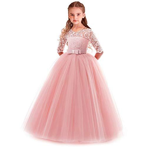 WOCINL Bloemenmeisje 3/4 mouw Bloemen Kant Vloer lengte Jurk Prinses Optocht Verjaardag Feest Bruiloft Communie Avond…