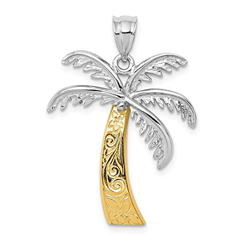 14k Tree Palm (14k Two Tone Yellow Gold Palm Tree Pendant Charm Necklace Sea Shore Fine Jewelry For Women Gift Set)