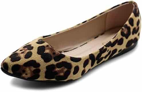 86ec6d7f87 Ollio Women's Ballet Comfort Light Faux Suede Multi Color Shoe Flat