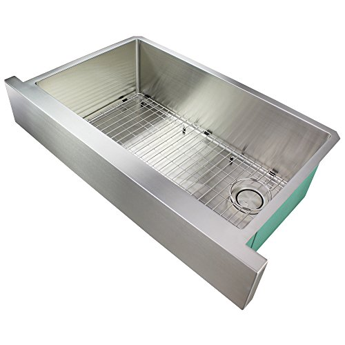 (Transolid DUSSF362010 Diamond Apron-Front Single Bowl 16-Gauge Stainless Steel Kitchen Sink 36-in x 20-in x 10-in Brushed Finish)