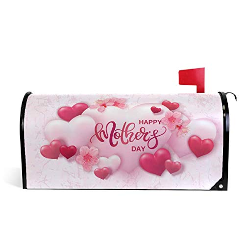 - Ding Goods Happy Mothers Day Pink Hearts On Marble Magnetic Mailbox Cover MailWraps, Cherry Blossoms Flowers Mailbox Wraps Post Box Garden Yard Home Decor for Outside Standard Size 20.8 (L) x 18 (W)