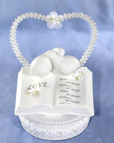 Wedding Collectibles STEPHANOTIS Love Verse Bible Cake Topper with Doves and Stephanotis - Wedding Stephanotis Cake
