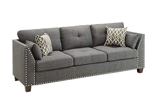 Price comparison product image HomeRoots Furniture Sofa in Light Charcoal Linen - Linen,  Eucalyptus,  Plywood,  Foam (318811)