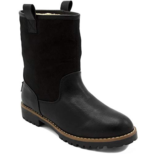 (Nautica Ladies Bosun 3 Winter Womens Lined Low Shaft Mid Calf Boot Black)