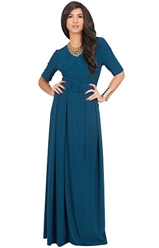 KOH KOH Womens Long Half Short Sleeve Belt Flowy Wedding Party Elegant Evening Work Formal Casual Modest Floor Length Vintage Gown Gowns Maxi Dress Dresses, Blue Teal M 8-10