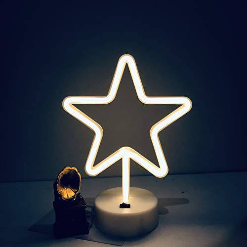 Led Neon Cactus Sign Love Sign Art Decorative Lights Wall Decor Home Party Decoration Kids Room Living Room LED Decorative Neon Lights (Star) ()