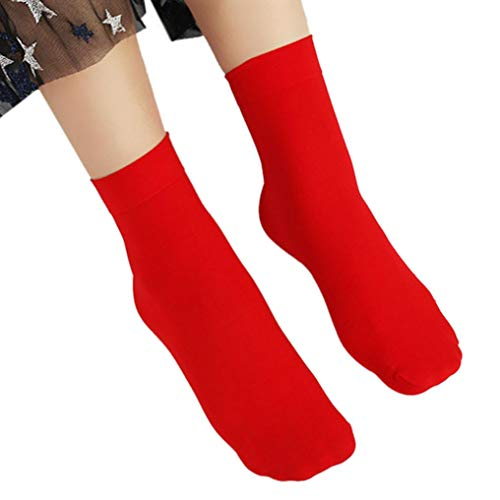 Tootu Women Casual Solid Elastic Short Silk Stockings (Red)