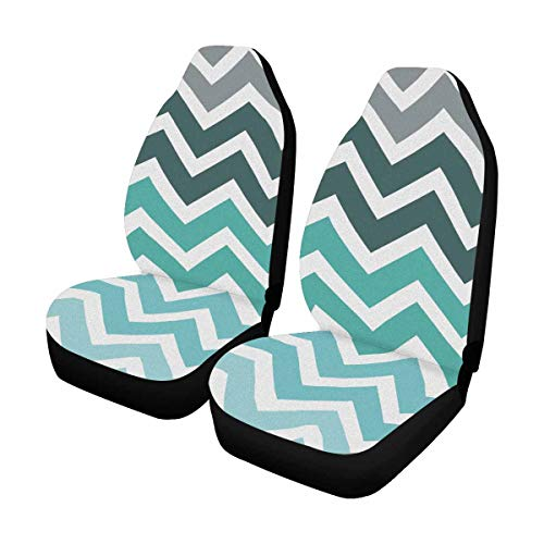 (INTERESTPRINT Abstract Teal Fade Chevron Zig Zag Front Seat Covers 2 pc, Vehicle Seat Protector Car Mat Covers, Fit Most Vehicle, Cars, Sedan, Truck, SUV, Van)