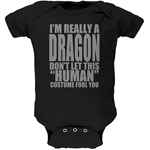 Halloween Human Dragon Costume Black Soft Baby One Piece - 12 Month -