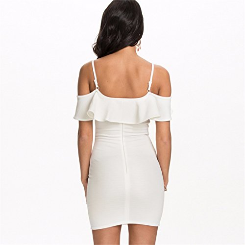 Shoulder Sexy Wrap Dress Off Short Skinny Mini Solid Flouncing Women Slim JYE White Color qXgz4xdwXS