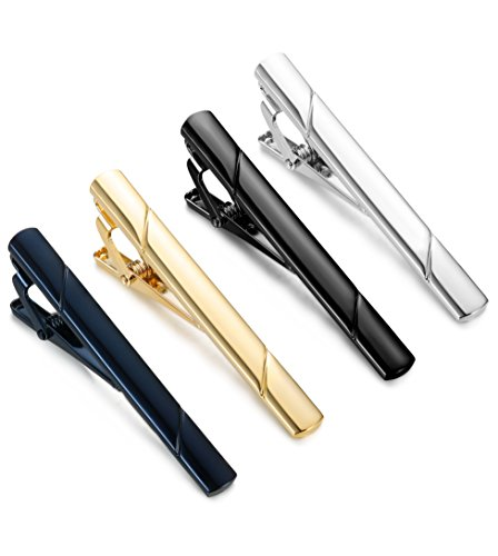 Jstyle 4 Pcs Tie Clips for Men Tie Bar Clip Set for Regular Ties Necktie Wedding Business Clips
