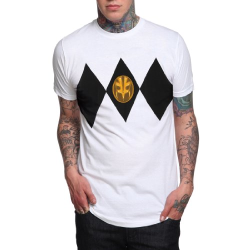 [Mighty Morphin Power Rangers White Ranger Costume T-Shirt] (White Ranger Adult Costumes)