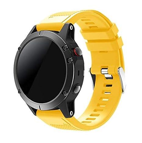 SUPREMO Garmin Fenix 5 Watch Band, ajuste rápido correa de reloj de silicona suave para Garmin Fenix 5 GPS Smart Watch Strap: Amazon.es: Electrónica