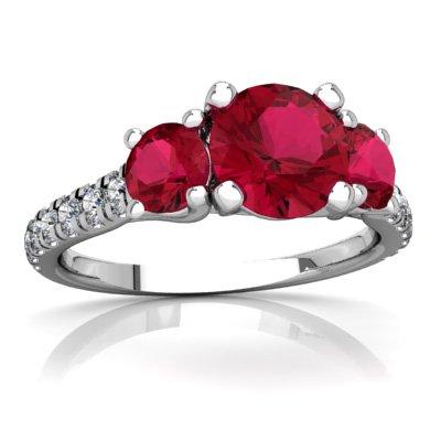 14K White Gold Lab Ruby and Diamond Round Pavé Trellis Ring - Size 5 ()