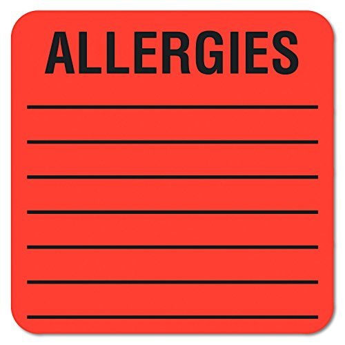 Tabbies 40560 Medical Labels for Allergies, 2 x 2, Orange, 500 per Roll