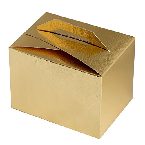 Efavormart 100pcs Gold Tote Favor Boxes Party Goodie Boxes Treat Box for Wedding Reception/Bridal Shower/Banquet Event -
