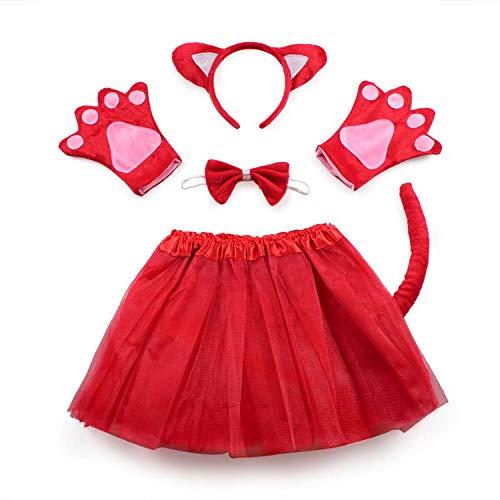 Rabbit Mouse Monkey Bear Wolf Frog Fox Pig Gloves Headband Tutu Halloween Party cdress Cartoon,red -