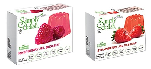 Simply Delish Natural Jel Dessert Sugar Free Variety Pack, 1 Strawberry and 1 Raspberry, 2 CT ()