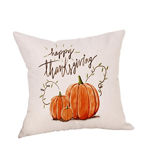 TATGB 9 design HAPPY Thanksgiving pumpkin Pillow Cover Embroidered thank you fruit (Quartz Pumpkin)
