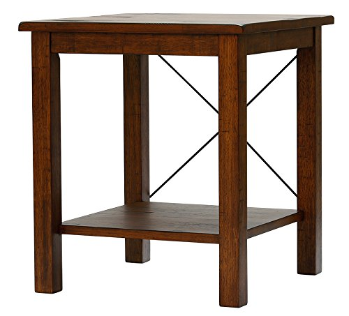 Vibrant Furnishings Solid Wood Rustic End Table – Distressed Finish – Bronze Coast Collection – Living Room Furniture For Sale