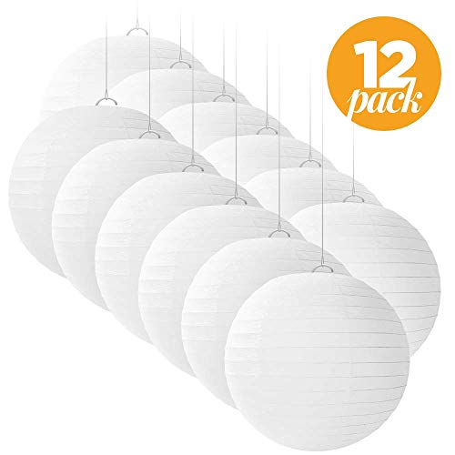 12 White Round Paper Lanterns for Weddings, Birthdays, Parties and Events - 12 inches - by -