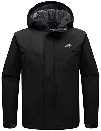 Wantdo Men's Detachable Hood Waterproof Rain Jacket Fleece Windproof Ski Jacket Black US Medium by Wantdo