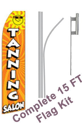 "NEOPlex - ""Tanning Salon"" Complete Flag Kit - Includes 12' Swooper Feather Business Flag With 15-foot Anodized Aluminum Flagpole AND Ground Spike"