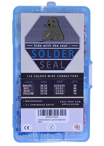 | SolderSeal Brand | Premium Solder Seal Wire Connector Kit 120PCS | Waterproof | Insulated | Marine | Automotive | No Crimp | Easy Heat Gun Application