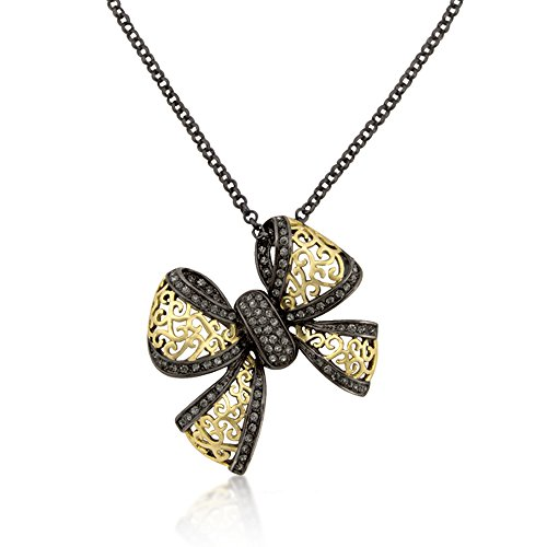 Gold Plated Bow (14k Gold Plated Bow Pendant Necklace w/ Hematite Plating and Crystal Accents- 18 + 3 IN)