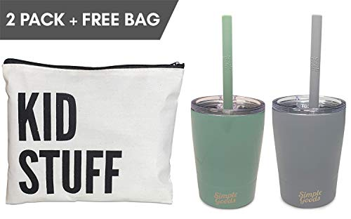 Simple Goods 2 Pack Kids Stainless Steel Sippy Cup Tumbler with Straw, Lid & Bag (Tiny, 8 oz, Grey/Teal 2 Pack)