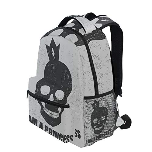 KVMV Skull with A Crown Skeleton Halloween Theme Grunge Look Lightweight School Backpack Students College Bag Travel Hiking Camping Bags ()
