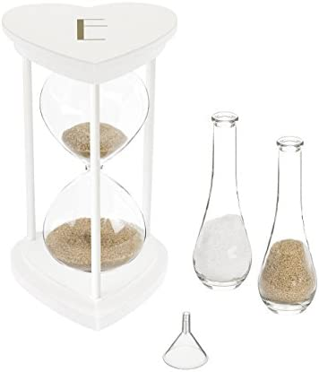 Cathy s Concepts Personalized Ceremony Hourglass Set Unity Sand, One Size, White with Gold Print