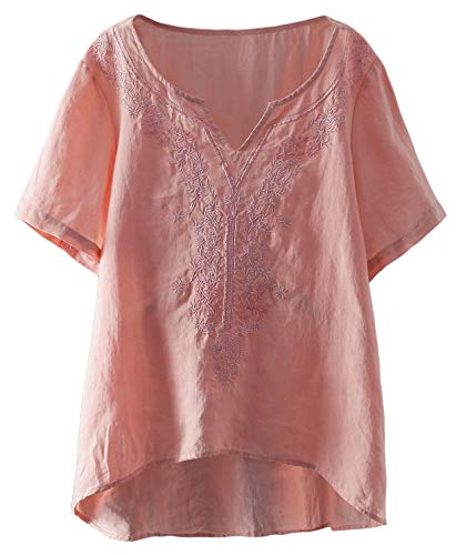 - Mordenmiss Women's Embroidered Blouse Tunic V-Neck Linen Tops Short Sleeve Hi-Low Hem Shirt (M,Pink)
