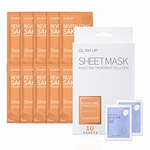 Sake Japanese Premium (Sheet mask by glam up BTS Revitalizing Japanese Sake (Rice) Premium Package - Purifying, Reduce Dark Circle Puffiness, Daily Skin Therapy Original K-Beauty Recipe x 10ea)