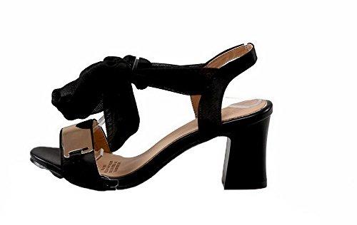 d'orteil Cuir Ouverture Femme Lacet PU Sandales Talon Correct AgooLar GMBLA012325 Noir Satin à qxZX4Ydt