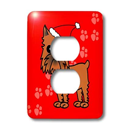 3dRose lsp/_31204/_6 Cute Brussels Griffon Cropped Ears Red with Santa Hat Outlet Cover Multi-Color