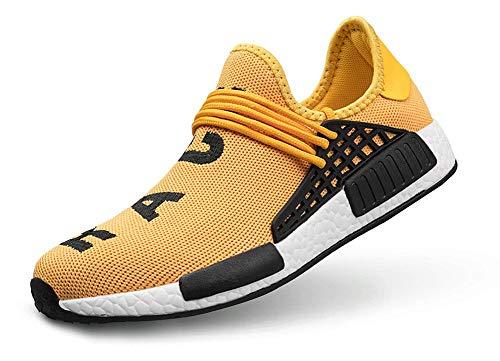 (TooBY Men's Running Shoes Women's Free Transform Flyknit Fashion Sneakers,Yellow,44 EU=10US-Men/11.5US-Women)