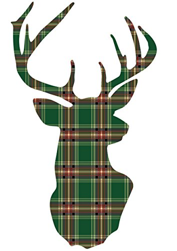Green Plaid Deer Trophy Holiday Fabric Wall Decal